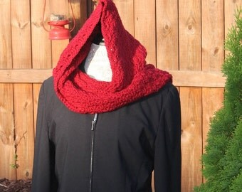 Hooded Scarf - Crochet -  Women or Teen - Red Hoodie