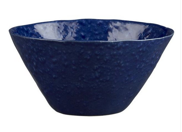 10in Small Abstract Cobalt Blue Fluted Top Round Porcelain Ceramic Modern Bathroom Vessel Sink 83