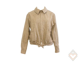 late 70s DVF wool vintage jacket //  camel colored micro  woolvintage designer jacket for fall // size medium - large Diane Von Furstenberg