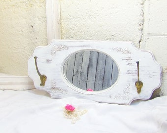 Vintage Entry Mirror/Mirror Hall Tree/Coat Rack Mirror/Bathroom Mirror/ Shabby Mirror Chalk Painted