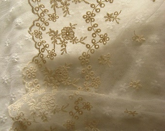 Ivory lace trim, embroidery gauze lace trim, vintage embroidered lace fabric trim, super wide lace fabric for costume design