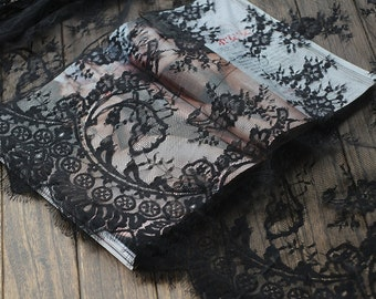 SALE black lace fabric ,eyelash lace fabric, scalloped lace fabric ,black fabric lace,Chantilly eyelash lace fabric