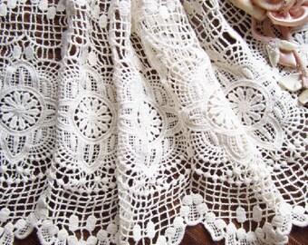 crochet cotton lace trim, vintage style fabric trim lace, antique lace trim in ecru