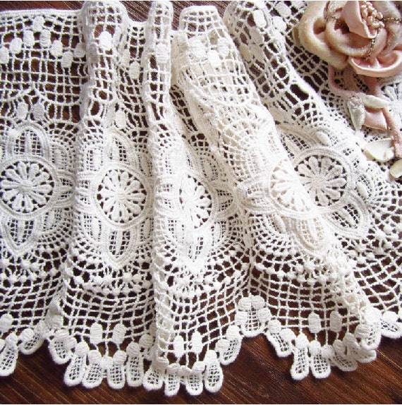 crochet cotton lace trim, vintage style fabric trim lace, antique lace ...