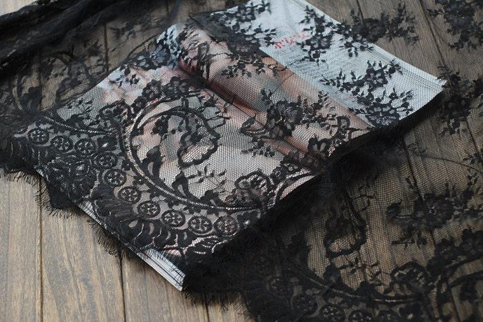 sale black lace fabric eyelash lace fabric scalloped lace. Black Bedroom Furniture Sets. Home Design Ideas