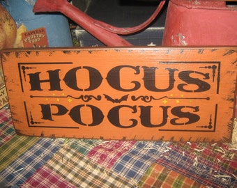 "Primitive  Holiday Wooden Hand Painted Halloween Salem Witch Sign -  "" Hocus Pocus ""  Country  Rustic Folkart"