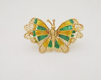 Vintage Enamel Butterfly Brooch Sterling Silver Filigree Gold Wash, Vintage Butterfly Brooch, UK Seller