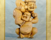 """Vintage Poster -  Advertising the 1976 """"Netsuke: the miniature sculpture of Japan"""" Exhibition at the British Museum - Sumo Wrestlers"""