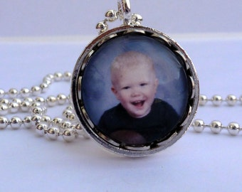 Custom Photo Charm Necklace, Personalized Jewelry, Round Glass Charm, Small Memorial Photo Keepsake, Grandma Gift, Gift for Her
