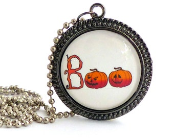 "Halloween Necklace, Boo Pumpkin Glass Tile Pendant Necklace, 30mm Round, 24"" Fall Jewelry, Orange Pumpkin Pendant"