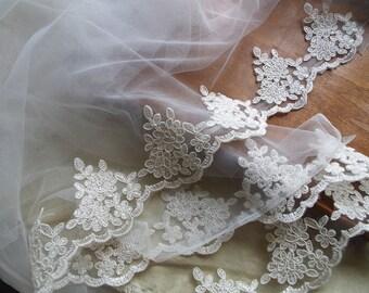 ivory alencon lace trim, ivory cord Lace Trim, bridal lace trim, bridal lace trim lace for veil
