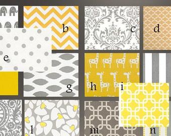 Baby Bedding Crib Stroller  Quilt  cotton modern prints yellow grey or Sets