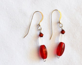 Red  Earrings, Silver Post, Crystal Beads, Dangling, CHRISTMAS Acessory Sale, Item No. S131