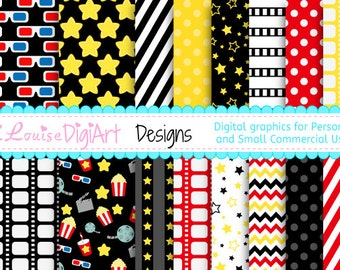 Film Movie Night patterned papers in 8.5 by 11 and 12 by 12 for Personal and Small Commercial Use