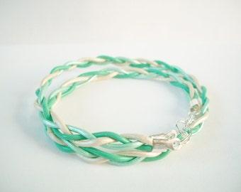 Mint braided leather wrap bracelet mint leather wrap bracelet  mint turquoise bracelet