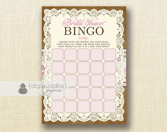 """Pink Rose Lace Burlap Bridal Shower Bingo 5x7"""" Shabby Chic Rustic Floral Doily Game Card Printed Game Cards  - Faith"""
