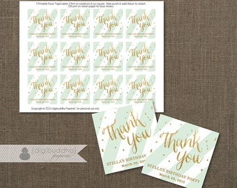 MINT & Gold FAVOR TAGS Bridal Shower Mint Stripe Birthday Wedding Labels Rehearsal Dinner Thank You 2.25 DiY Printable or Printed- Stella