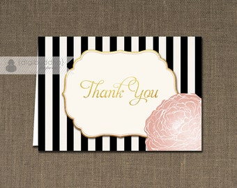 Blush Pink and Gold Thank You Card INSTANT DOWNLOAD Black Stripe Bloom Folded Note Card Notecard Blank Inside Digital or Printed - Madison