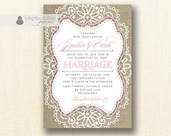 """Lace Burlap Wedding Invitation Shabby Chic Blush Pink Rustic Doily Linen 5x7"""" Printable DIY Digital or Printed - Jackie Style"""