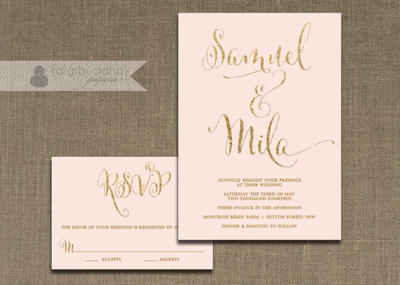 like this item - Blush And Gold Wedding Invitations