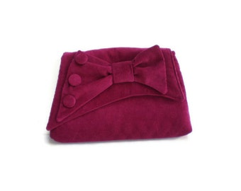 1930's Vintage Inspired Clutch Bag Dark Pink Hilco Corduroy Asymmetrical Flap with Bow Purse 1930s Style