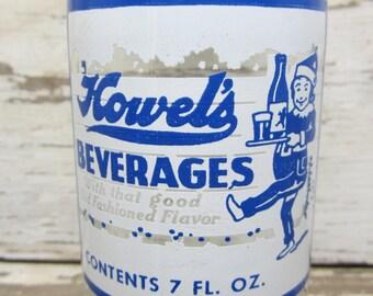 Vintage 1950s 1960s Era ACL Glass Bottle Clear Blue Howel's Beverages Pittsburgh Pa Soda Vintage Bottle Movie Prop or Decoratin Collection