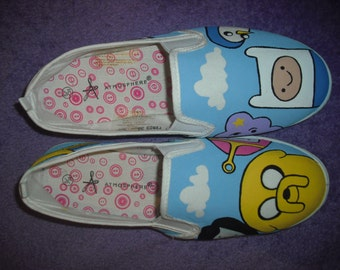 Hand Painted Adventure Time Canvas Shoes