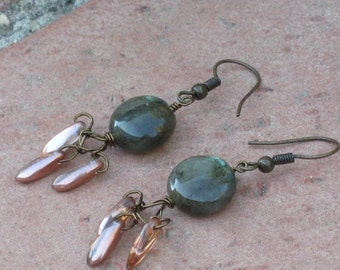 Labradorite and copper daggers with antiqued brass