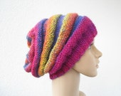 knitted slouchy large rainbow hat, teens womens beanie oversized hat, fuchsia yellow blue orange multicolor MADE TO ORDER