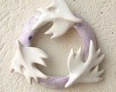 Circle of love.love and life . White Birds  on a Lavender Wreath .Wedding decoration or Christmas decoration.Valentine gift. - DeepSilence