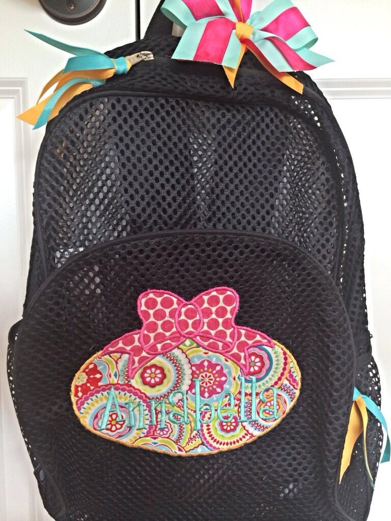 personalized custom monogrammed mesh backpack bookbag