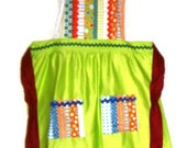 Spring Green Apron with Striped Bib with Rick Rack, ties and 2 patch pockets
