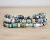 Pic Nic Paper Bead Bracelet, Recycled Paper Bead Bracelet Made From Book Pages, Earthy Bracelet, Book Lover, Teacher Gift