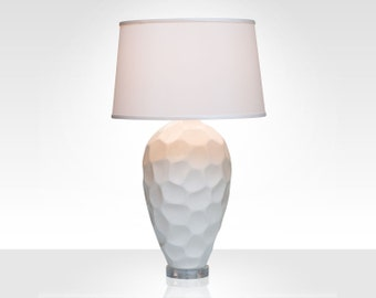 Honeycomb Porcelain Lamp with Ivory Silk Shade