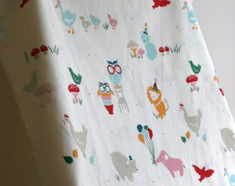 Organic Everyday Animals by Designer Emily Isabella from Birch Fabric's Everyday Party Collection - ONE HALF YARD Cut