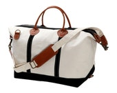 Personalized Canvas Weekender Bag with Black Trim Monogrammed