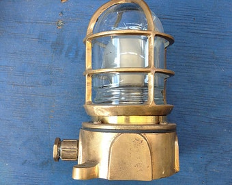 Brass  Lantern Glass Nautical Beach Decor  Vintage Restored by SEASTYLE