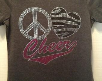Peace-Love-Cheer Zebra Bling Shirt