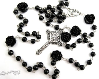 Black rosary necklace, Catholic rosary, gothic rosaries, confirmation rosary, catholic gifts, rose rosary, goth black rose, passion crucifix