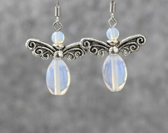 Chritsmas angel wing snowman santa Moonstone earrings Bridesmaids gifts Free US Shipping handmade Anni Designs