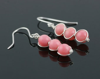 Sterling Silver wiring pink coral dangling earrings bridesmaids gifts Free US Shipping handmade Anni Designs