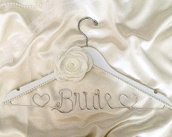 Custom wedding Hanger, lovely white hanger, pearls, flower, bride