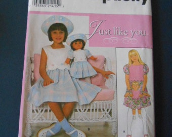 Simplicity 8066, Sundress, Hat, size 3 to 6, doll dress too!