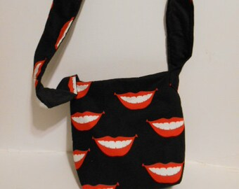 "Handmade Lips and Teeth Print Purse,  over the chest/ shoulder purse, 9"" by 11"""