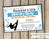 Birthday invitation (digital file only) wakeboarding/ water skiing/ summer party at the lake