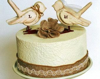 wooden love birds cake topper / rustic cake topper /