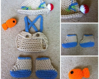 Crochet Fisherman Outfit (Hat, diaper cover w/suspenders, boots and lil fish)