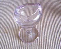 """Antique 1910's """" JOHN BULL"""" Clear Eye Wash Cup with Smooth Body and Stem - Authentic"""