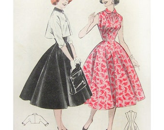 1950s Style Peter Pan Collar Sleeveless Summer Dress with Full Circle Skirt Custom Made in Your Size From a Vintage Pattern