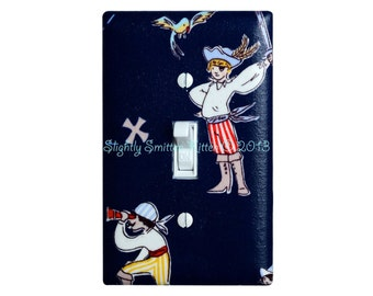 Pirate Light Switch Plate / Boys Room Baby Nursery / Nautical Navy Blue / Kids Room Bathroom